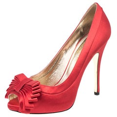 Valentino Red Satin Bow Detail Peep Toe Platform Pumps Size 40