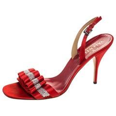 Valentino Red Satin Crystal Embellished Sling Back Open Toe Sandals Size 40