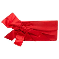Valentino Red Satin Pleated Bow Clutch
