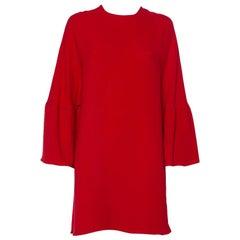 Valentino Red Silk Bell Sleeve Detail Shift Dress M