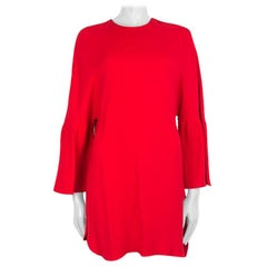 VALENTINO red silk BELL SLEEVE OVERSIZED Dress 40