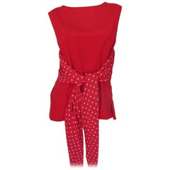 Valentino Red Silk Polkadot Blouse