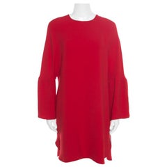 Valentino Red Silk Crepe Cloche Sleeve Cocktail Shift Dress S