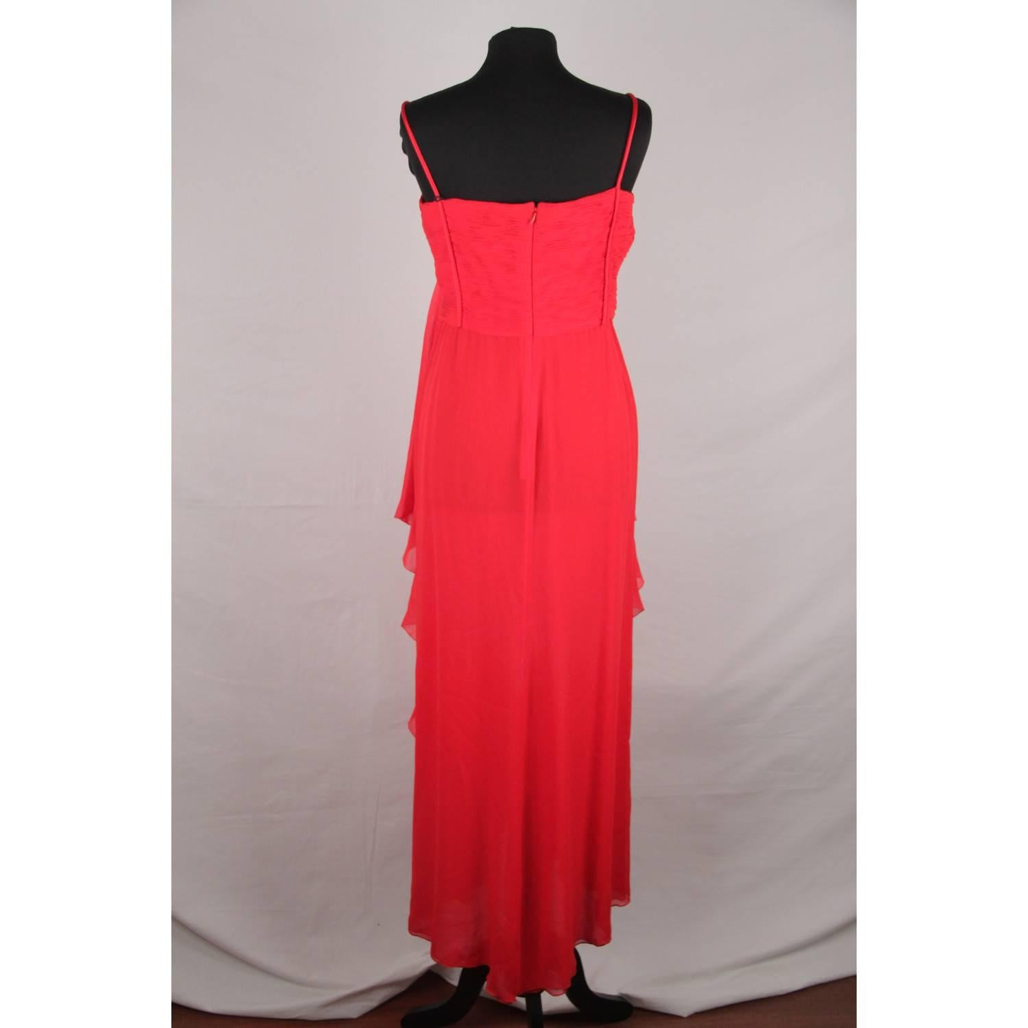VALENTINO Red Silk EVENING MAXI DRESS Gown SIZE 8 For Sale at 1stdibs