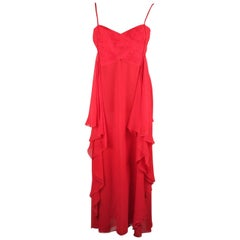 VALENTINO Red Silk EVENING MAXI DRESS Gown SIZE 8