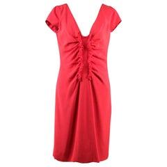 VALENTINO Red Silky V NECK Sheath DRESS w/ Ruches WINTER 2008