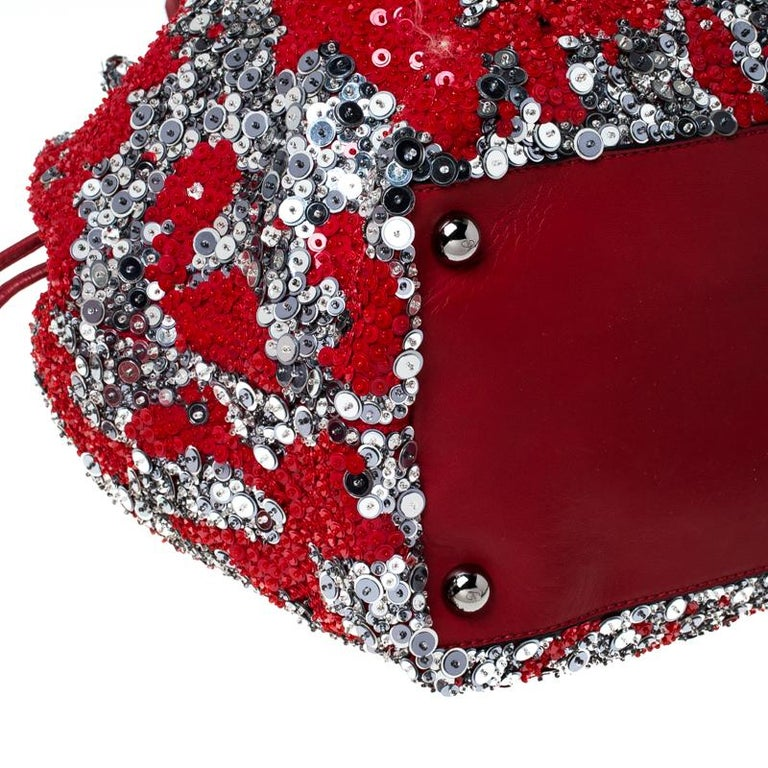 Valentino Red/Silver Sequins Embellished Fabric and Leather Tote 6