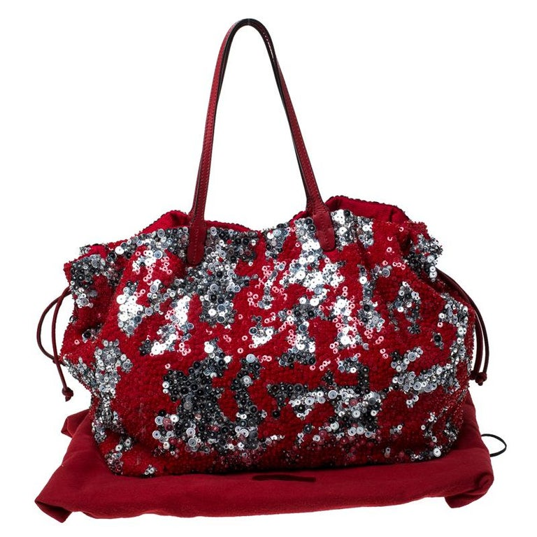 Valentino Red/Silver Sequins Embellished Fabric and Leather Tote 7