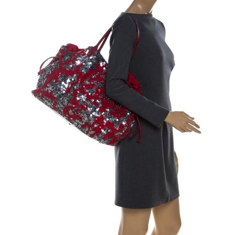 Brown Valentino Red/Silver Sequins Embellished Fabric and Leather Tote
