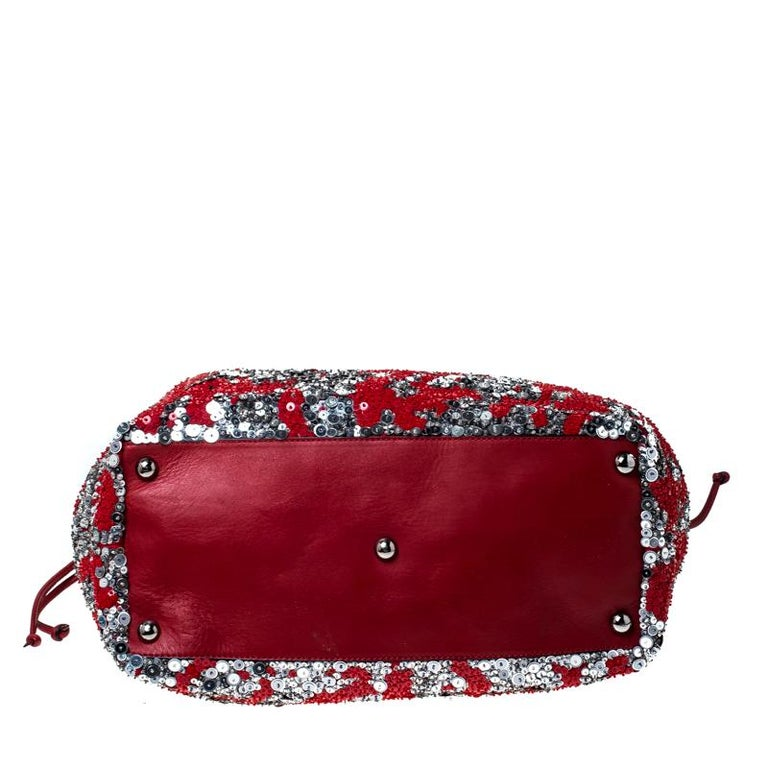 Women's Valentino Red/Silver Sequins Embellished Fabric and Leather Tote