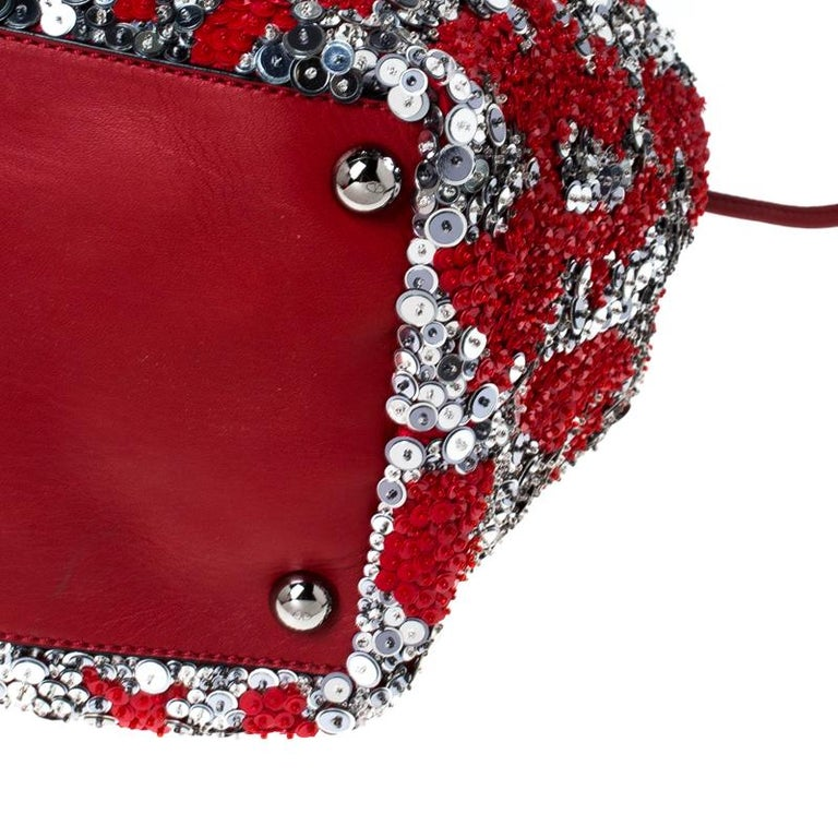 Valentino Red/Silver Sequins Embellished Fabric and Leather Tote 1