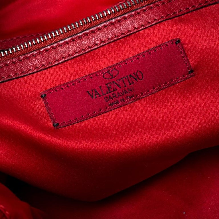 Valentino Red/Silver Sequins Embellished Fabric and Leather Tote 3