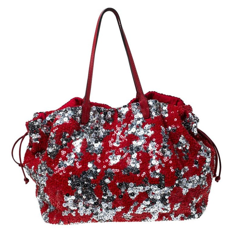 Valentino Red/Silver Sequins Embellished Fabric and Leather Tote