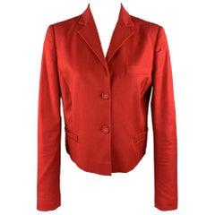 VALENTINO RED Size 8 Red Stretch Cotton Cropped Blazer