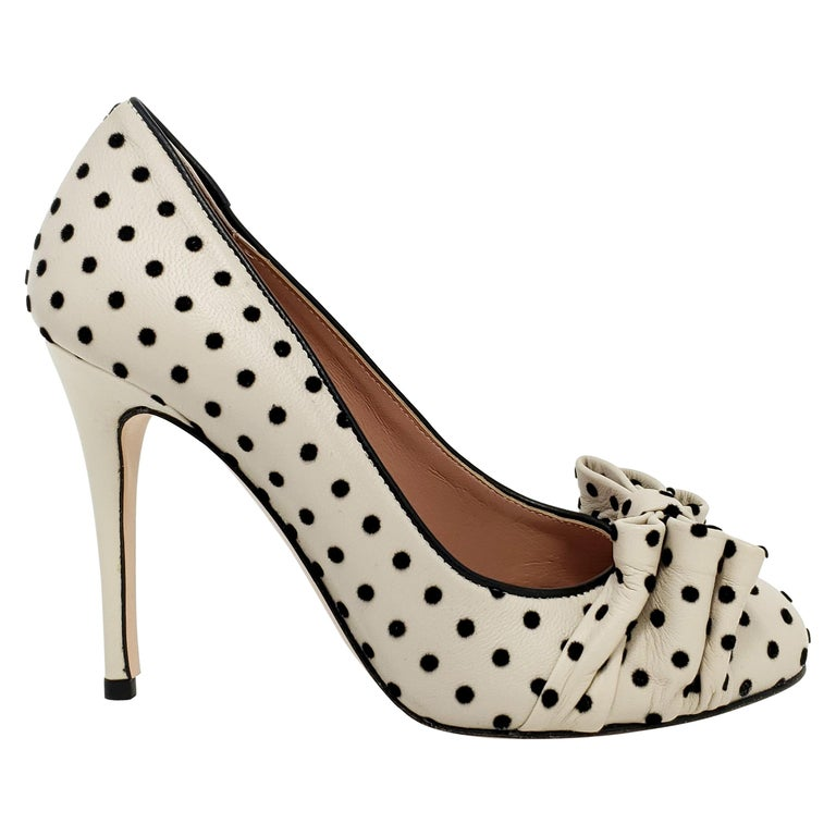 Valentino Red Slip On Stiletto Bow and Polka Dot Heels, Women's Pumps For  Sale at 1stDibs