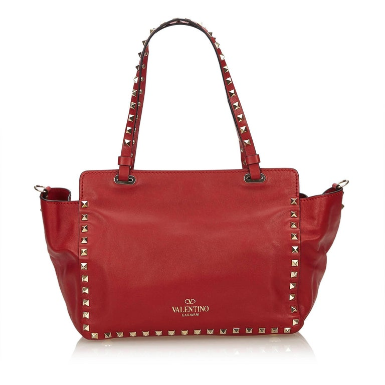 Valentino Red Small Rockstud Tote Bag In Good Condition For Orlando Fl