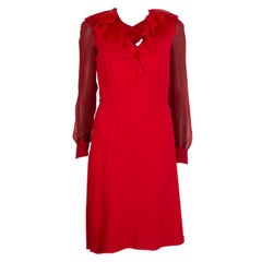VALENTINO red viscose RUFFLE NECK SHEER SLEEVE Dress 8