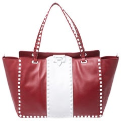 Valentino Red/White Leather Rockstud Tote
