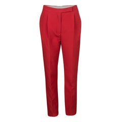 Valentino Red Wool and Silk Blend Tapered Trousers S