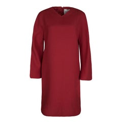 Valentino Red Wool and Silk Long Sleeve Shift Dress M