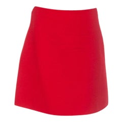 VALENTINO red wool & silk A-Line Short Skirt 40 S
