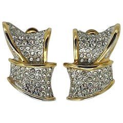 Valentino Rhinestone and Gold Ribbon Earrings