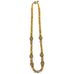Valentino Rhinestone Rondel & Butterscotch Bead Long Necklace