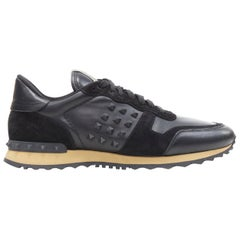 VALENTINO Rockrunner black leather rockstud suede leather casual sneakers EU44