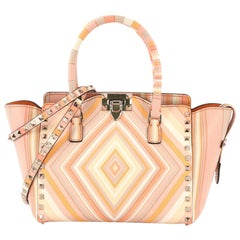 Valentino Rockstud 1975 Tote Striped Leather Small