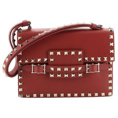 Valentino Rockstud Belted Top Handle Flap Bag Leather Small