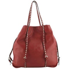 Valentino Rockstud Belted Tote Soft Leather Large