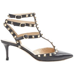 VALENTINO Rockstud black leather gold pyramid stud caged dorsay pump EU38.5