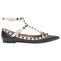 VALENTINO Rockstud black white studded caged strappy pointed flat shoes EU38.5