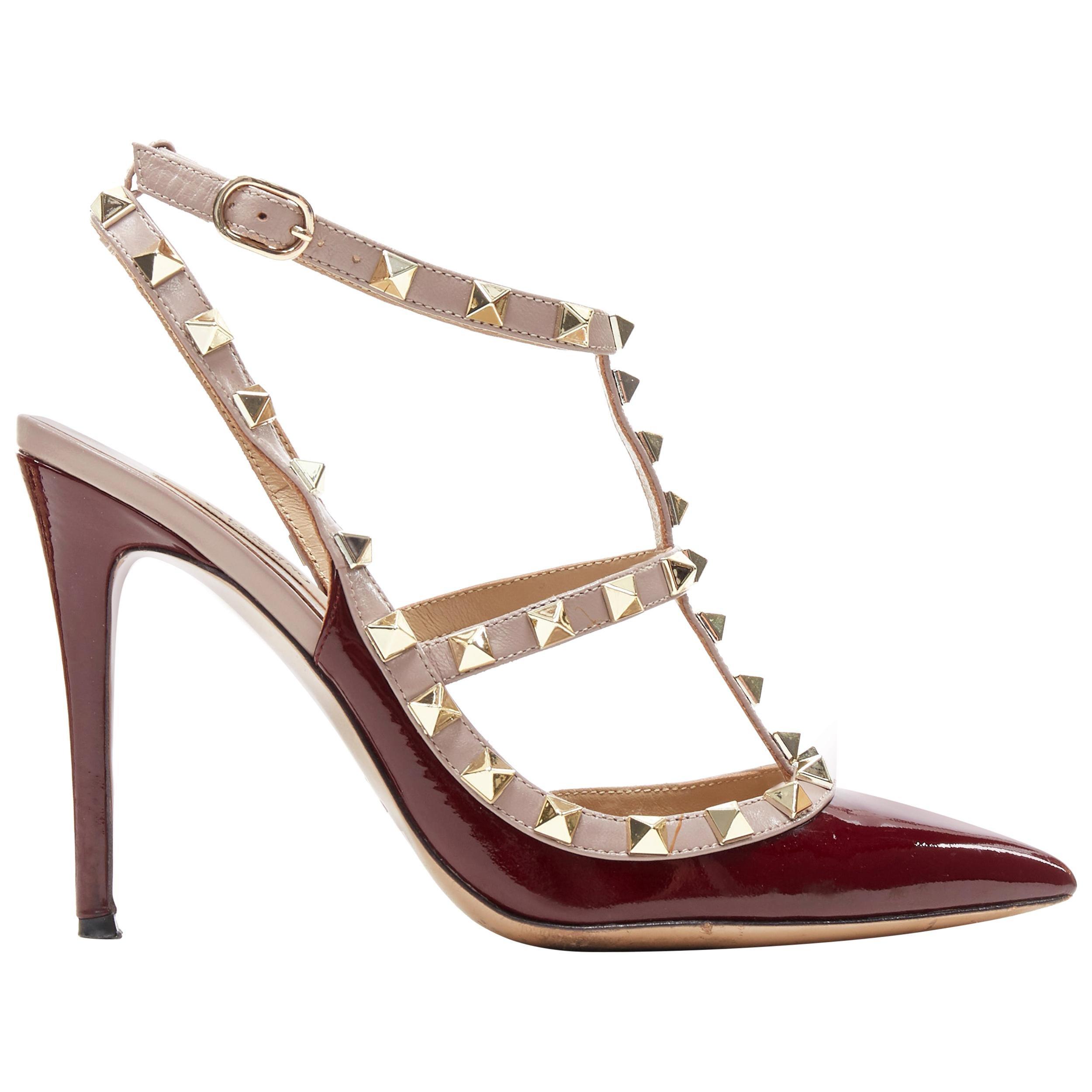 VALENTINO Rockstud burgundy red patent gold studded caged point toe heel EU39