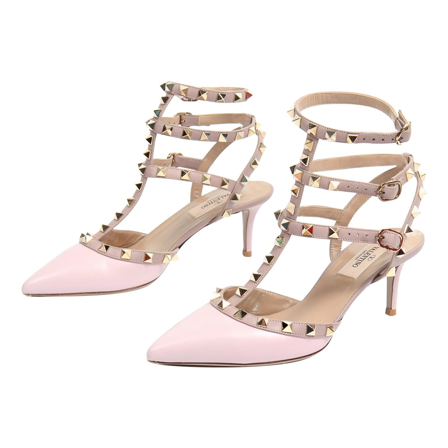 Valentino Rockstud Cage Ankle Strap Shoes W Heels in Water Rose Pink Size 6.5