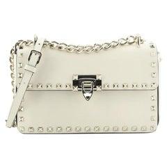 Valentino Rockstud Chain Flip Lock Flap Bag Leather Medium