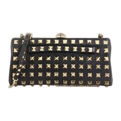 Valentino Rockstud Chain Frame Clutch Full Studded Leather Small