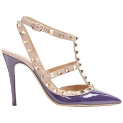 VALENTINO Rockstud dark purple patent gold studded caged point toe heel EU35.5