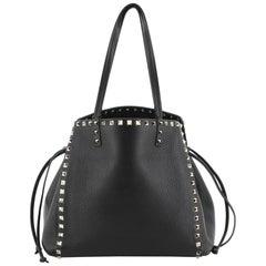 Valentino Rockstud Drawstring Tote Leather