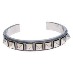Valentino Rockstud Embellished Two Tone Open Cuff Bracelet