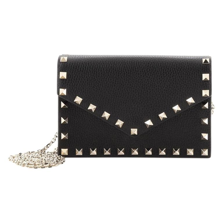 Valentino Rockstud Envelope Chain Crossbody Bag Leather. Small