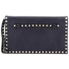 Valentino Rockstud Flap Clutch Leather