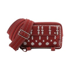 Valentino Rockstud Flap Messenger Bag Beaded Canvas Small