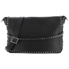 Valentino Rockstud Flap Messenger Bag Leather Large