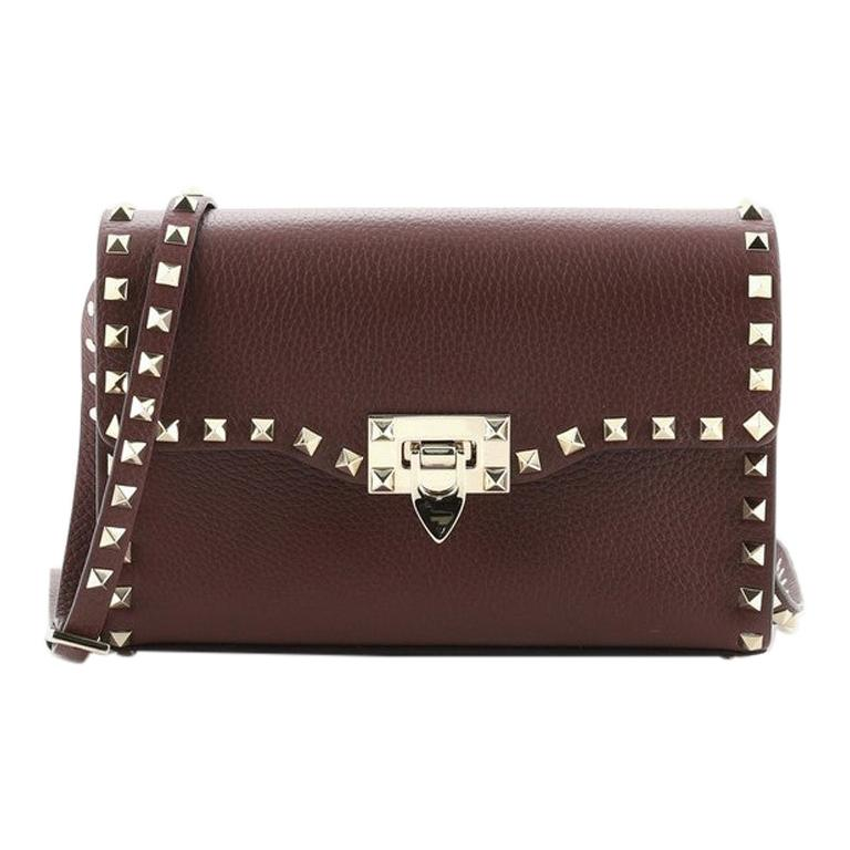 Valentino Rockstud Flip Lock Flap Bag Leather Medium
