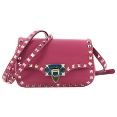 Valentino Rockstud Flip Lock Flap Bag Leather Mini