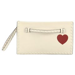 Valentino Rockstud Heart Flap Clutch Printed Leather