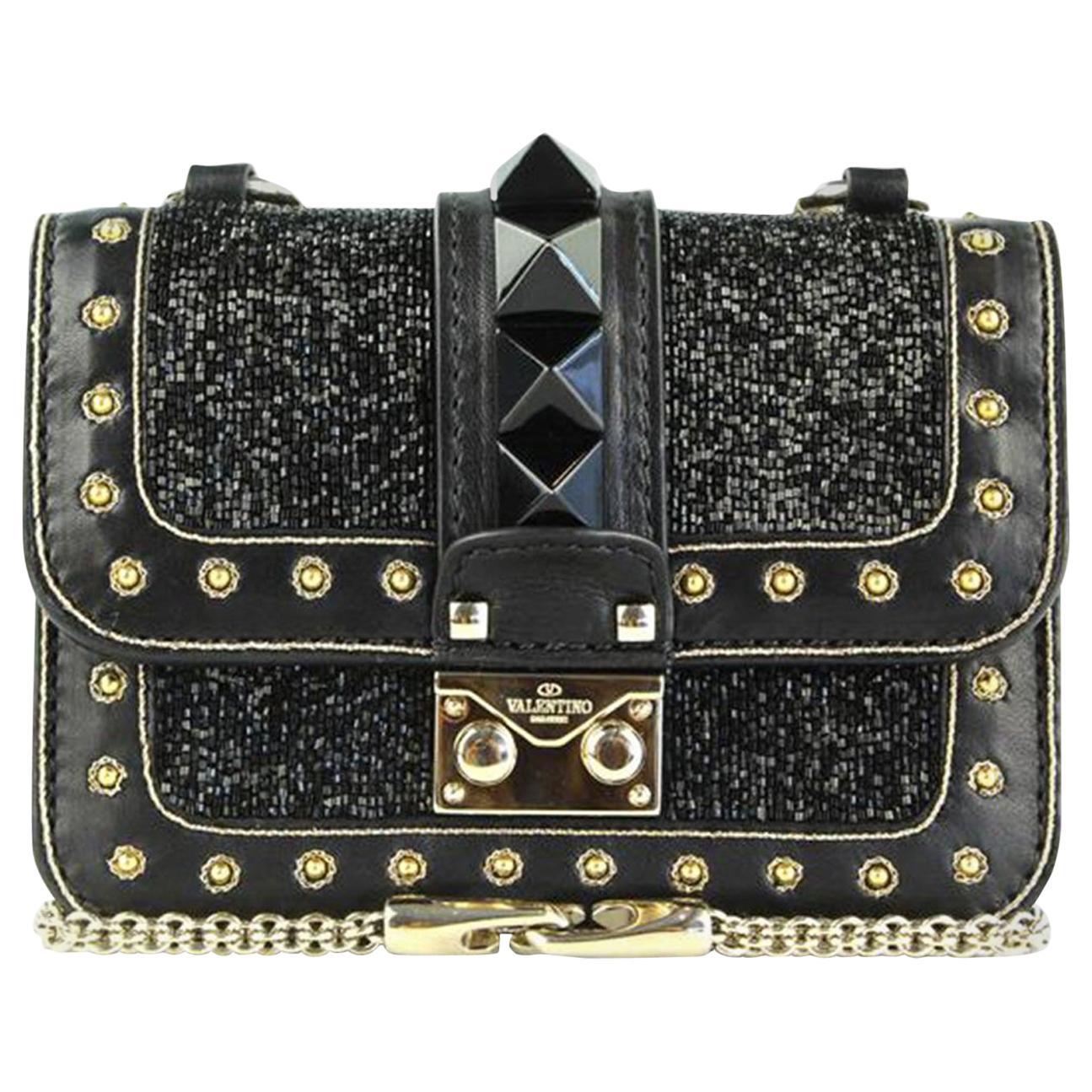 Valentino Rockstud Lock Mini Bead Embellished Leather Shoulder Bag