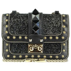 Valentino Rockstud Lock Mini Bead Embellished Leather Shoulder Bag