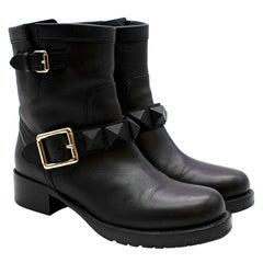 Valentino Rockstud Military Black Ankle Boots 37